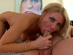 Dirty milf Christina Skye pleases younger dick with stunning blowjob session