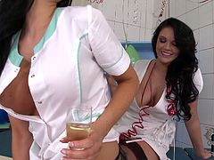 Dude, you're welcome to enjoy a steamy DDF Network sex clip right here and now. Wondrous brunette doctors in white short gowns desire to gain some delight. Spoiled nymphos with sweet tits wear stockings and heels. Just jaw dropping hotties stimulate clits on the hospital bunk bed and make me jizz right away.