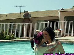 Horny emo goth bitches lesbian love in the pool