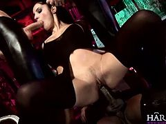 See the wild brunette bitch Lucy Belle taking turns sucking two rods of meat while riding a thick rod of black meat.
