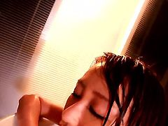 Sweet Japanese hottie Arisa Sawa fondles her big tits while taking a bath. She is soon very horny and spreading her legs while fucking herself with a dildo.