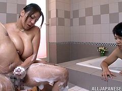This honey works at the Japanese sauna and her job is to satisfy the hungry studs, who come to have some sexual fun for money!