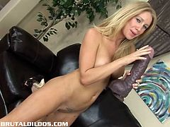 Busty blonde MILF riding dildo in this nasty solo encounter that thrills her desires and so as ours too.