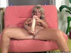 Classy looking granny is going nuts in dirty 21 Sextury porn clip. She is penetrated in her clam with big fat dildo. Watch this kinky porn clip of mature mommy getting toy fucked on cam.