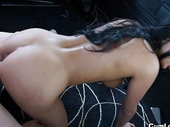 Hot brunette with big tits gets nailed really hard during horny bang bus experience