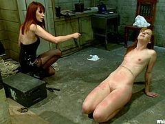 Horny Claire Robbins gets tied up and tortured with claws. She also gets her pussy drilled by the fucking machine. She also gets whipped painfully.