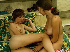 Two skinny brunette MILFs get into pose 69 to dive each other's bald mufs before the use dildo to poke them rapaciously in steamy sex video by Seventeen Video.