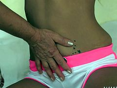 21 Sextury performs you new sex scene featuring young blonde and whorish granny. Beautiful girl dives in disgusting hairy pussy.Enjoy her for free.