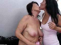 One is an old, saggy brunette and the other two are young and restless! Kataline is between two brunette chicks that are burning with sexual desire and she's about to have a lot of fun with them. The whore is getting her nipples sucked and her pussy rubbed. That's only the foreplay, don't miss the action!