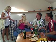 This blonde granny is at the right place when these party boys get horny from drinking and bang her from both ends.