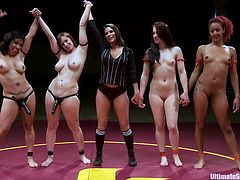 The match is intense and the whores wrestle like there is no tomorrow. It seems that the sexy referee is not doing her job properly and these whores fight dirty! After a while the winning team is announced. After the victory, it is time to receive the prize: two submissive whores!