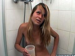 Whorish blond amateur kneels down in front of horny dude to mouth fuck his sturdy penis before she is forced to piss into the bowl and drink her own urine in pov sex clip by 21 Sextury.