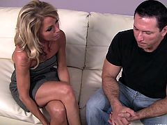 Nikki Charm may be in her late 40s, but she still likes to get down and dirty. This is especially true when her friend's son comes over. She sits him down and undresses him to see his hard cock and big muscles. She sucks him off and gives him a fantastic blowjob.