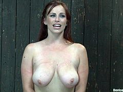 What a busty and filthy girl Bella Rossi is! She gets her hot tits bondaged and then her master puts her neck and wrists on the yoke bar.