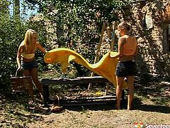 Enjoy exciting outdoor sex video featuring sexy lesbians. They compare each others breasts and start to undress each other to make love in the garden.