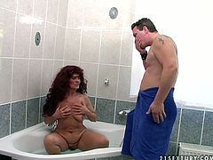Hot tempered red haired whore wife masturbates her pussy in the bath. later she swallows balls and sucks cock of one nextdoor guy.