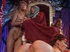 Check out, Amazing scene with horny Arabic prince is forcing himself on a small tits, blonde babe who's resisting his sexual advances. Meanwhile two bumbling idiots brake into a jail where they please a bunch of sex starved, submissive bitches with their huge, stiff boners. Don't miss it!