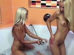 Two lezzies taking a shower getting horny and doing the inevitable: licking pussy and fingering for orgasm.