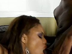 Skinny Ebony whore in fishnet stockings rides kinky dude in cowgirl style before she lies on her back to keep getting hammered in missionary position.