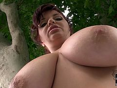 The idea of the video is to spy on voluptuous mommy with giant natural tits. Curvy mom with huge boobs is posing taking teasing position. Watch this delicious full bodied woman in a hot DDF Network free video.