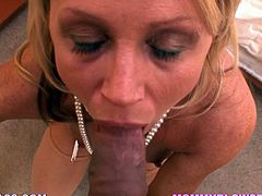 Insatiable blonde mom Nikki Charm is having some good time with a horny dude. She rubs his dick against her snatch, then takes it into her mouth and milks it dry on her face.