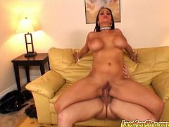 Curvy Latina Carmella Bing shows her snatch to her man and lets him eat it. Then they fuck in the reverse cowgirl and other positions and have awesome anal sex.