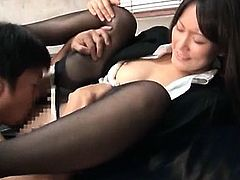 Jap office chick taking bosses dick in her cunt and humping it
