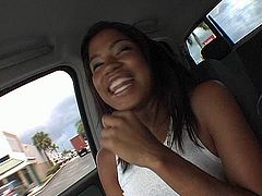 Ugly black whore rides kinky white dude reverse cowgirl before she gets inside his car to flash her soaking hairy cunt in perverse sex video by Pornstar.