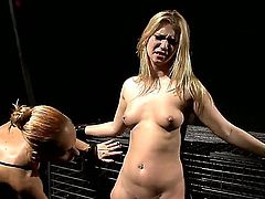 Experienced arousing slut Katy Parker with sexy make up and ponytail in tight dress tortures cute blonde Margarita with wooden clips while she is crying tied up for cage.