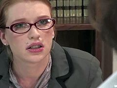 Madison Young is a mean boss who will show this guy a lesson by spanking him, strapon fucking his ass, torturing him with clothespins and then riding his dick.