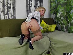 This mature lady loves it when you watch her play with her old cunt. she pulls her panties aside and masturbates herself until she's good and horny. Now she needs to suck on a dick. She does just that. Watch as she sucks this young guy off.