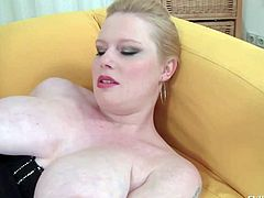 Veronika F is a pale skinned BBW in tight black corset. She demonstrates her big natural melons and plays with her pink meaty pussy. She shows off her titties and fingers her wet hole at the same time,