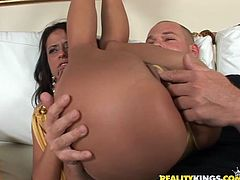 Nasty brunette girl gets too drunk in the club. So, some guy picks her up and fucks rough in his apartment. She also sucks a dick like a whore and moans with pleasure.