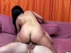 Hot number Sophia Lomeli rides cock face to face. Her big impressive jugs bounce in front of his face. Later he pokes her pussy in doggy style.