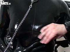 Insatiable sexploitress Jana likes sex experiments. She touches latex freak on a leach and rubs clit passionately. Go for the popular sex video from Fun Movie porn site.