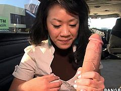 A dirty fucking Asian whore sucks on this dude's hard fucking dick and then gets it shoved balls deep into her tight fucking pussy.