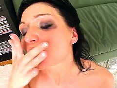 Amazing and so sexual chick with a lot of dirty thoughts in head that loves rude fucking kneels and gets face fucked. Dude cums into her mouth and she swallows it with delight.