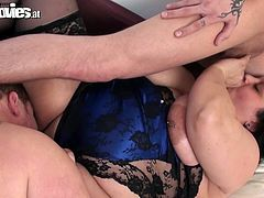 Chubby ugly bitch spreads her stockings fat legs wide and trusts dildo toy between her greasy pussy lips. One kinky guy is eager to sample her juicy and dives in her snatch.