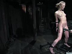 Sexy blonde chick strips her clothes off in a wooden building. Then she gets her tits tortured. Later on her master shoves a hook in her ass and toys the pussy with black dildo.