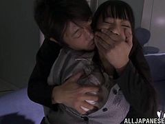 Slutty Japanese chick is playing dirty games with some guy in an office. The man mouth-fucks the hottie and then drills her juicy cunt in missionary pose.