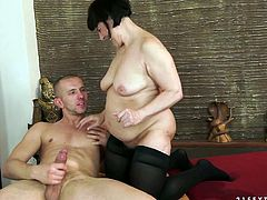Hussy mature slut with disgusting hairy pussy is wearing black nylon stockings. She loves young studs with hard long lasting dicks so she seduces one for sex. Check out this hot old young fuck scene in 21 Sextury porn movie.