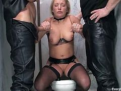 Gorgeous Dia Zerva fingers her pussy in a restroom. Later on she sucks two dicks and gets ass fucked and toyed.