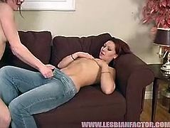 Naive looking brunette amateur lies on her back with legs spread aside while experienced MILF dives her soaking shaved muf before they switch the roles and she is the one who gives a tongue fuck.