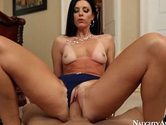 Sexy India Summer sits on big cock POV