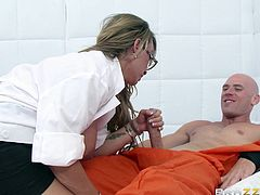 Busty blonde milf enjoys teasing and fucking horny patient in naughty hardcore