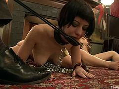 Gagged Cherry Torn gets her ass toyed and tits clothespinned