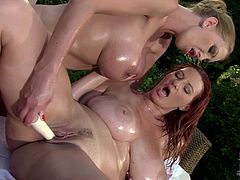 Don't be a dull one and press play to gain delight along with DDF Network sex clip. Gorgeous oiled light and red haired chicks with big boobs and rounded big asses have a dildo to masturbate right in the yard. Dozen of delight is surely guaranteed...