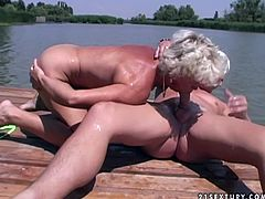 Sex insane granny polishes ass hole of one dude outdoors. She licks his balls and rims his anus. Later she rides sex partner like crazy.