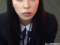 Lovely Japanese girl in school uniform stands on her knees in front of the guy. She gives a blowjob to some dude in CFNM video and also gets her mouth filled with cum.