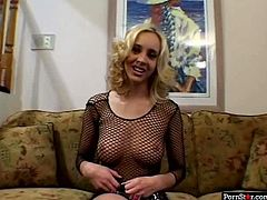 Horny dude gets a boner as soon as he sees a slutty blondie sitting in transparent black fishnet nightie. Kinky long legged nympho jams her tits and spreads legs wide to open her wet juicy pussy, which must be eaten right away.